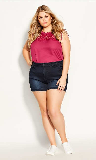 Plus Size Denim Breeze Short - dark denim