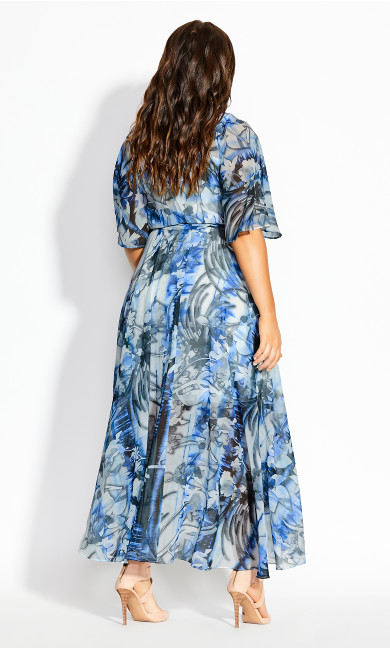 Moody Floral Maxi Dress - azure