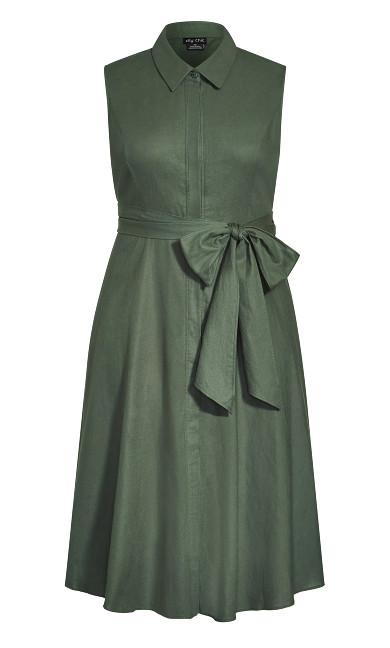 Shirt Detail Dress - army khaki