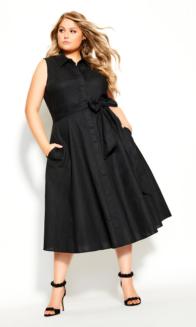 Plus Size Shirt Detail Dress - black