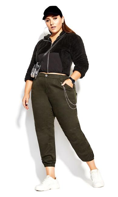 Plus Size Cargo Detail Pant - khaki