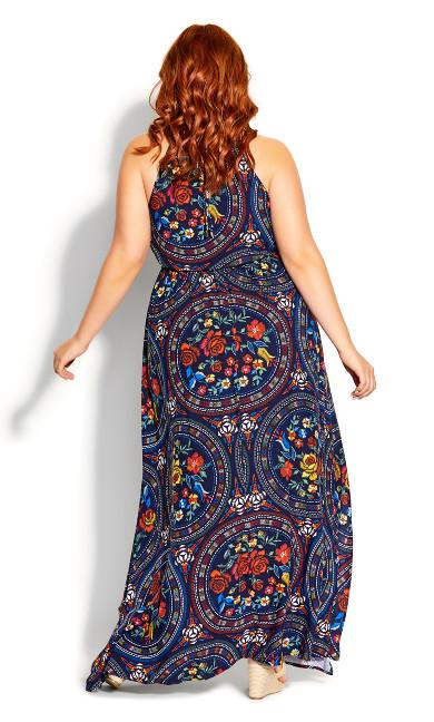 Fiery Bloom Maxi Dress - Blue