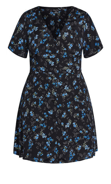 Ditsy Blues Dress - black