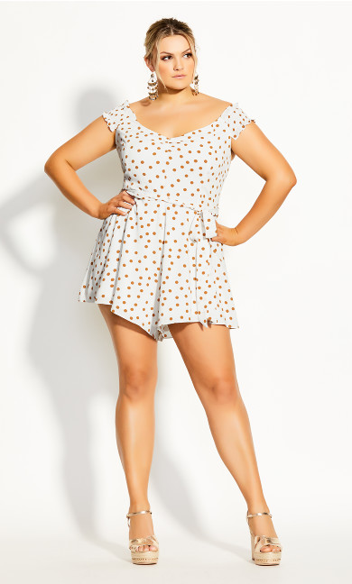 Plus Size Golden Spot Playsuit - ivory