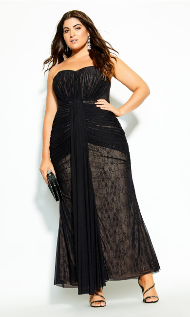 Plus Size Secret Desire Maxi Dress - black