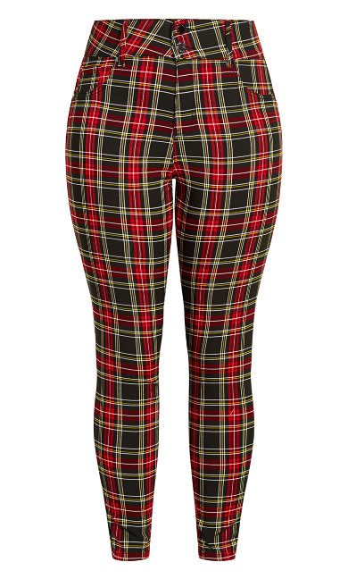 Harley Plaid Skinny Jean - red