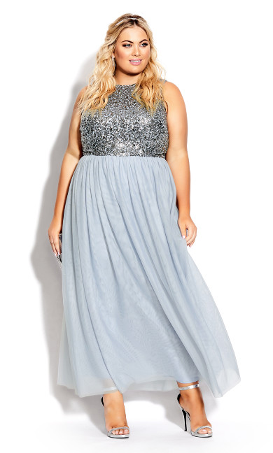 Plus Size Shine Bright Maxi Dress - aquamarine