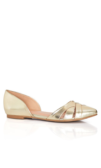 Plus Size Clara Flat - gold