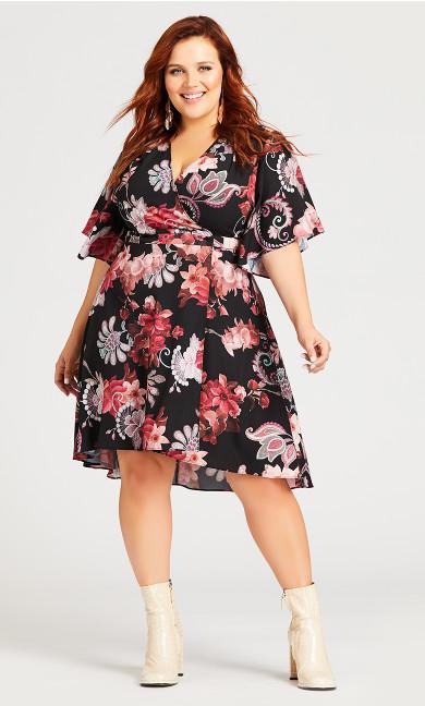 Vivian Wrap Print Dress - black