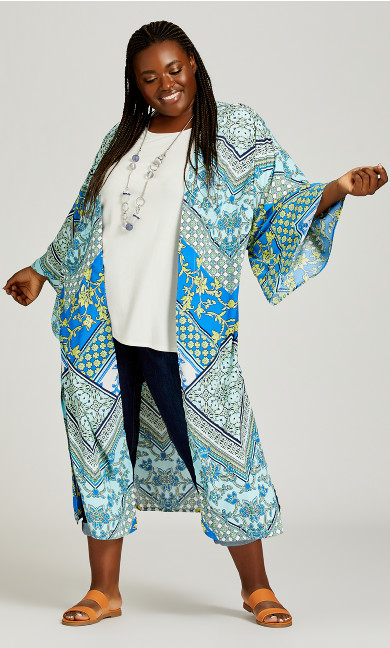 Plus Size Mallorca Kimono - aqua