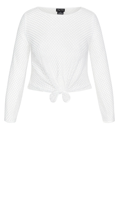 Mesh Knot Top - white