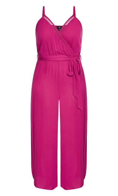 Split Leg Jumpsuit - hot pink