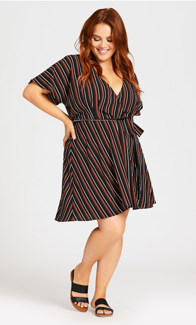 Simply Wrap Dress - rust stripe
