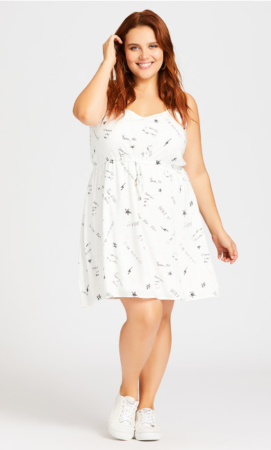 Sweetly Tied Dress - white graphic