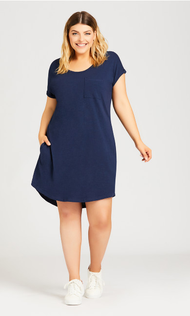 Plus Size Summer Day Dress - navy