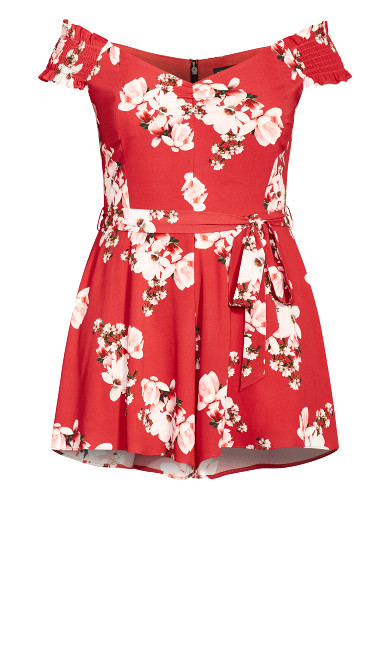 Sacred Lotus Playsuit - red