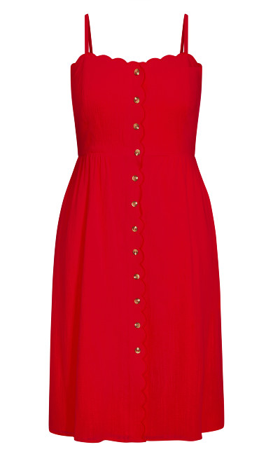 Scallop Button Dress - red