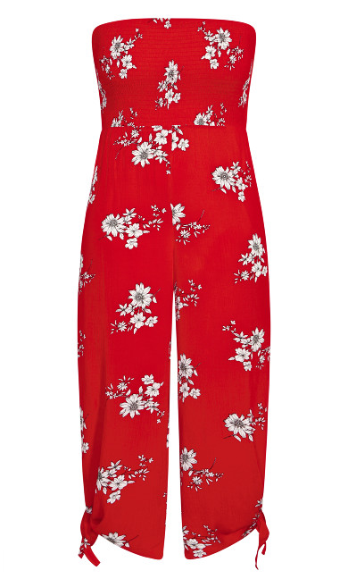 Love Floral Jumpsuit - red