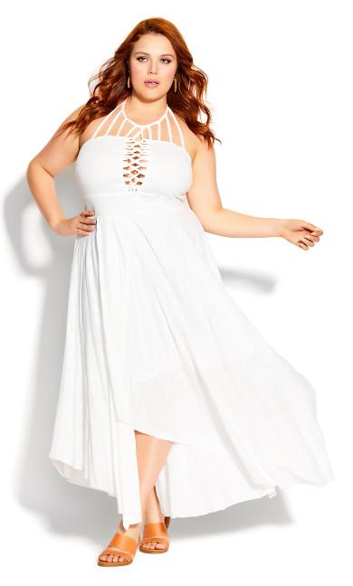 Plus Size Plait Detail Maxi Dress - ivory