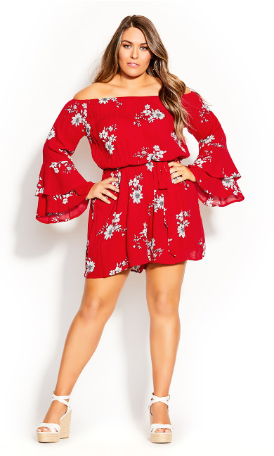 Plus Size Love Floral Playsuit - red