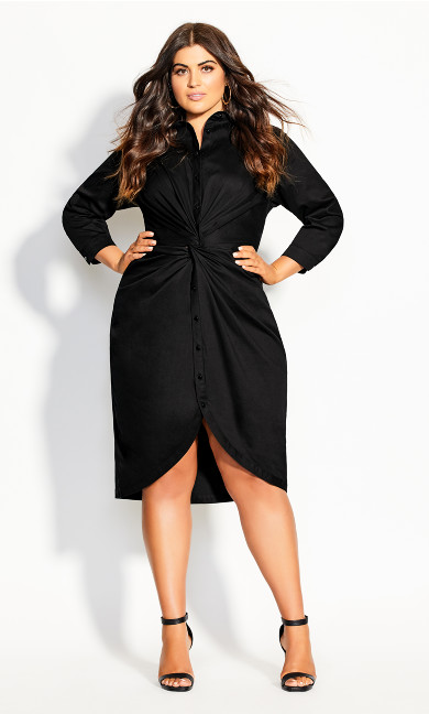 Plus Size Chambray Twist Dress - black