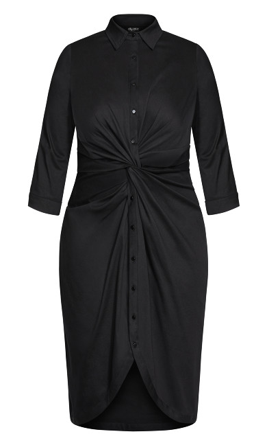 Chambray Twist Dress - black