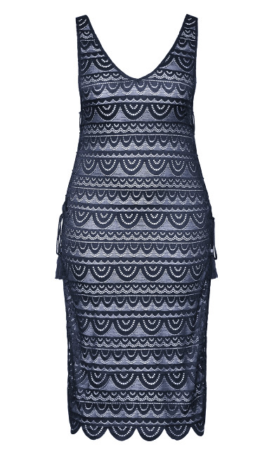 Lace Glamour Maxi Dress - navy