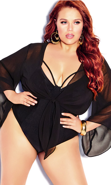 Plus Size Knot Front Shirt - black
