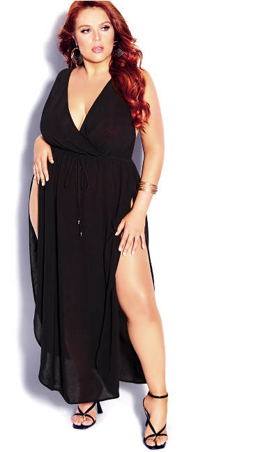 Plus Size Sunlover Maxi Dress - black