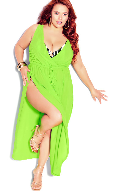 Plus Size Sunlover Maxi Dress - lime