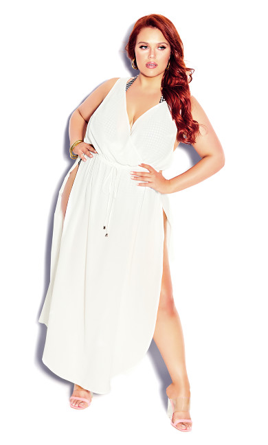 Plus Size Sunlover Maxi Dress - white
