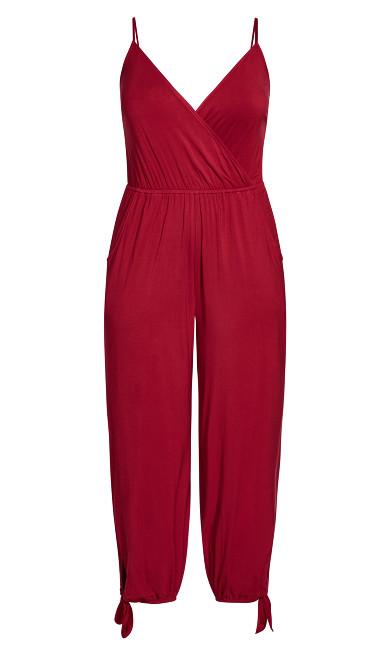 Knot Hem Jumpsuit - red