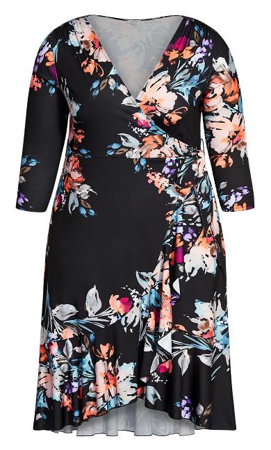 Arrangement Wrap Dress - black