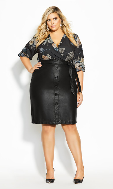 Plus Size Pin Me Up Skirt - black