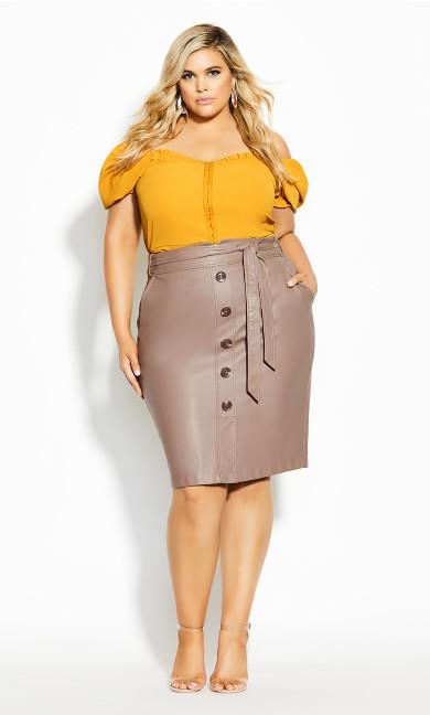 Plus Size Pin Me Up Skirt - porcini