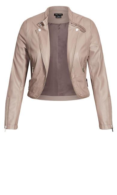 Cropped Biker Jacket - porcini