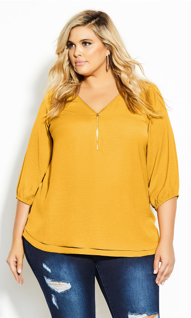 Plus Size Zip Fling Daze Top - butterscotch