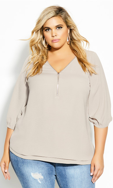Plus Size Zip Fling Daze Top - doe