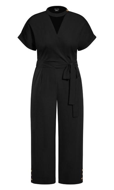 Sassy Button Jumpsuit - black