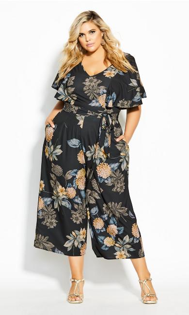 Plus Size Golden Floral Jumpsuit - black