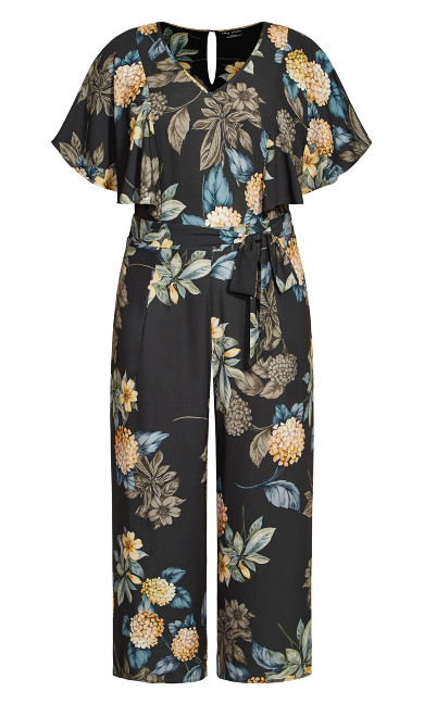 Golden Floral Jumpsuit - black