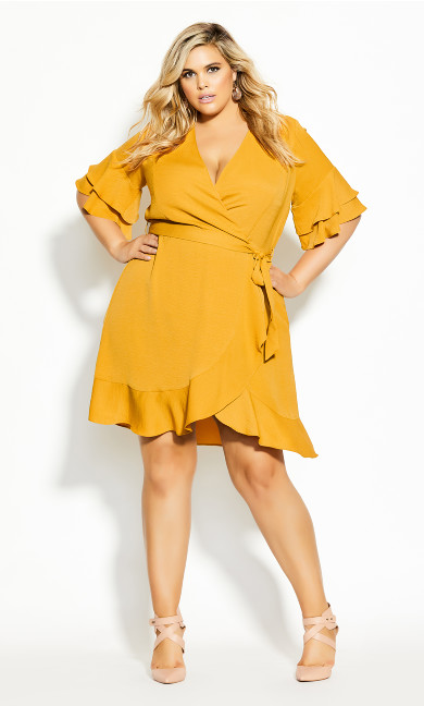 Plus Size Flutter Daze Dress - butterscotch