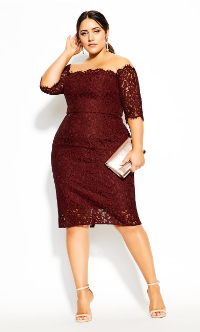 Plus Size Lace Love Dress - bordeaux
