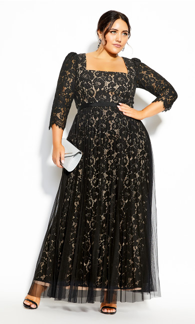 Plus Size Pleated Lace Maxi Dress - black