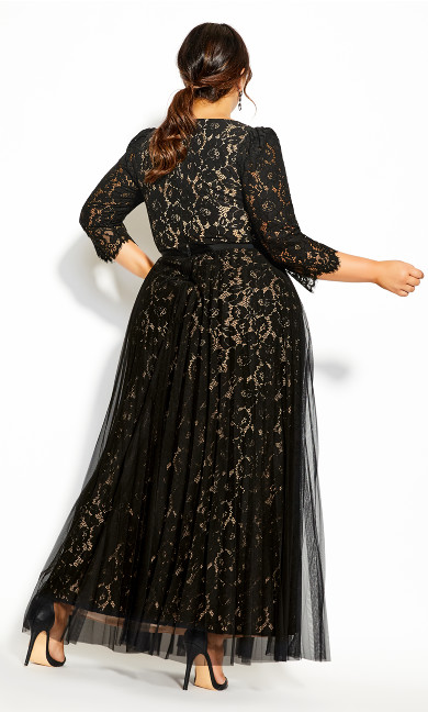 Pleated Lace Maxi Dress - black