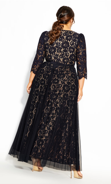 Pleated Lace Maxi Dress - navy