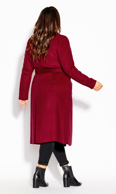 Romantic Luxe Wool Blend Coat - cerise