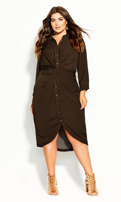 Plus Size Twisted Stripe Dress - copper
