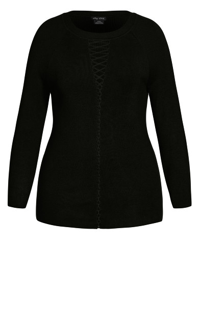 Criss Cross Sweater - black