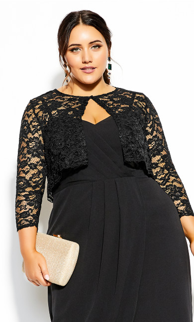 Plus Size Scallop Lace Jacket - black